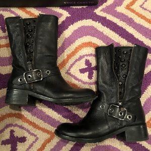 Vince Camuto Walt Black Leather Moto Boot 9